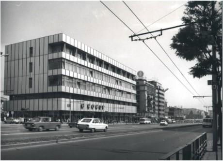 Magazinul Cocor la inceputul anilor '70. Magazinul Unirea se afla inca in constructie.